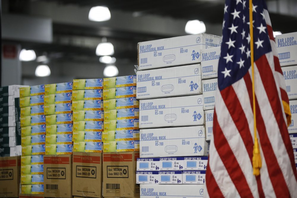 Stacks of medical supplies are housed March 24 at the Jacob Javits Center that will become a temporary hospital in response to the COVID-19 outbreak in New York. A review of federal purchasing contracts by The Associated Press shows federal agencies waited until mid-March to begin placing bulk orders of N95 respirator masks, mechanical ventilators and other equipment needed by front-line health care workers.