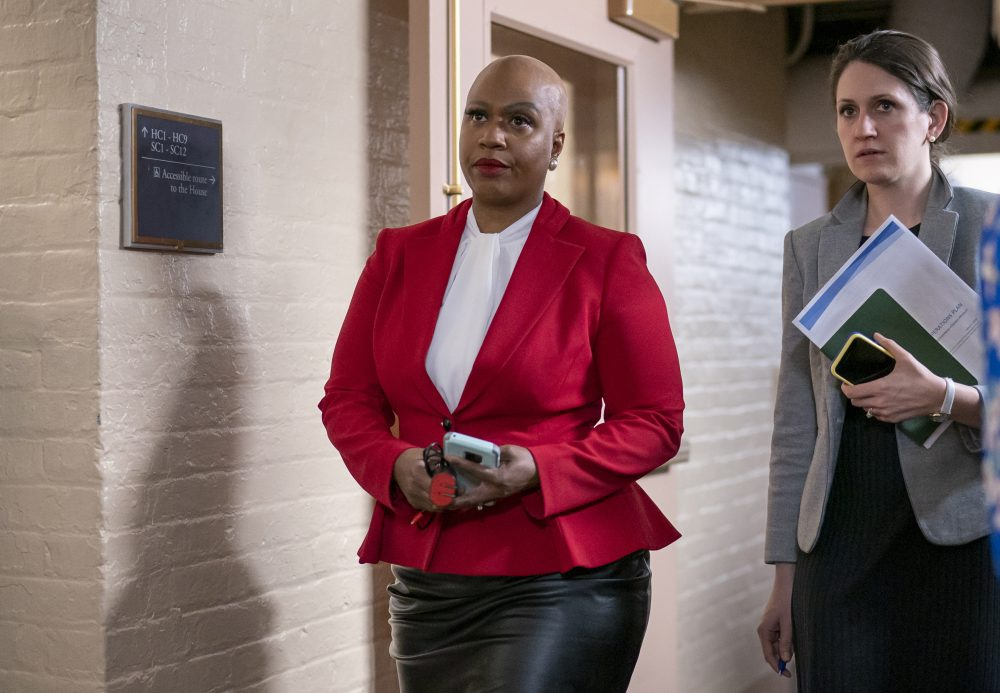 Rep. Ayanna Pressley, D-Mass., and other House Democrats arrive to meet with Speaker of the House Nancy Pelosi, D-Calif.,  in Washington last month. Massachusetts Sen. Elizabeth Warren and Pressley say in a letter to Health and Human Services Secretary Alex Azar dated March 27 that comprehensive demographic data on people who are tested or treated for the coronavirus does not exist.