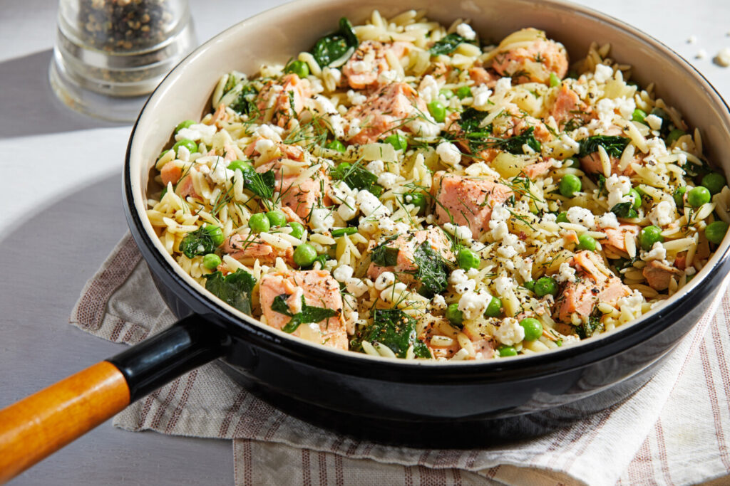 Orzo Skillet With Salmon, Peas, Dill and Feta