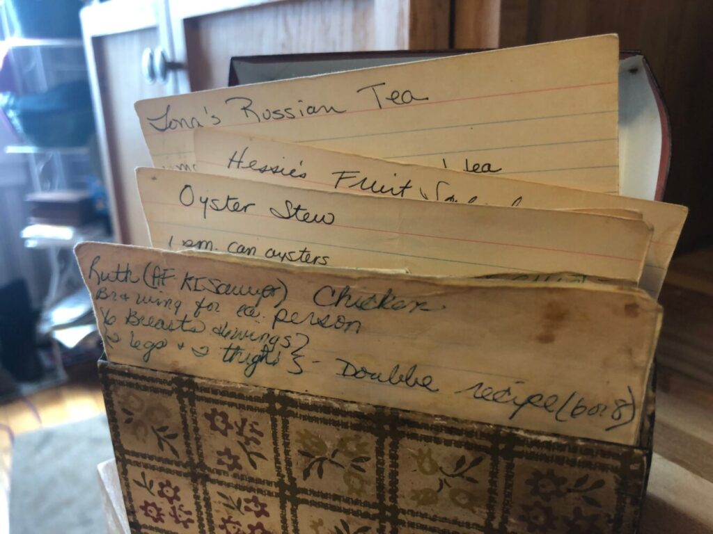 Battered but still beloved, this recipe box holds gifts from decades of military life.