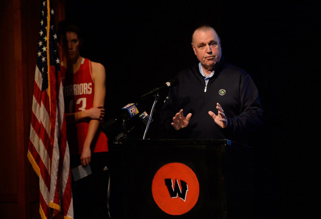 Former Wells football coach Ed McDonough speaking in favor of dropping the Wells High School's Native American-themed imagery but keeping the Warriors name in May 2018.