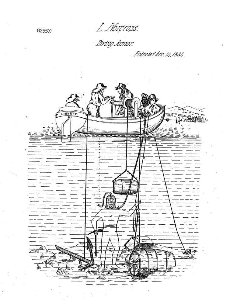Illustration from patent filed by Leonard Norcross for diving armor.