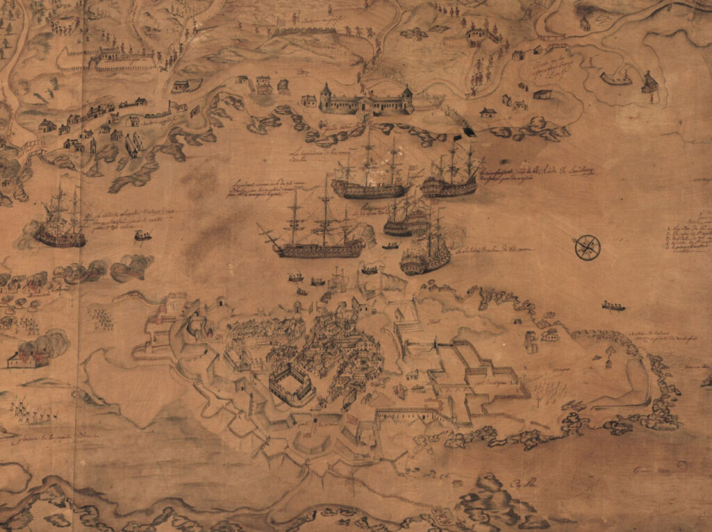 Detail of military troop and ship positions for the Siege of Louisbourg in 1758