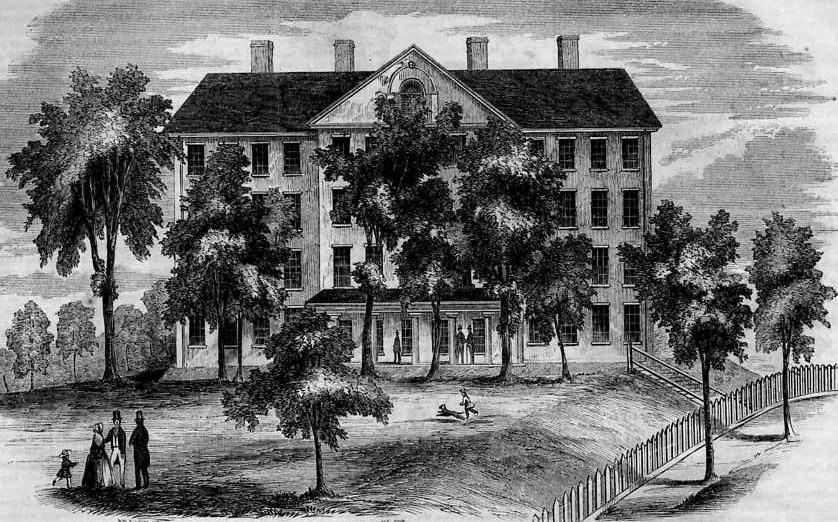 Theological Seminary, at Bangor, Maine, an engraving published December 1853 in Gleason's Pictorial Drawing-Room Companion