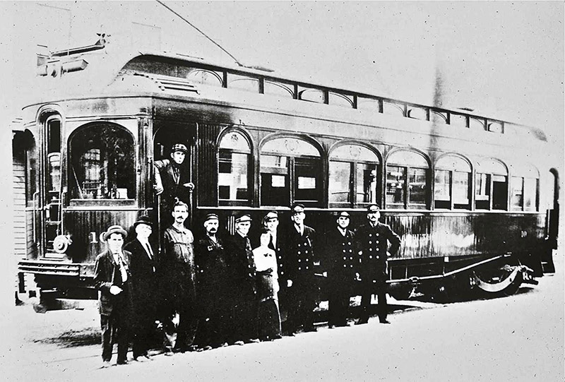 No. 10 Arbutus with shop crew members in this photo taken in Lewiston just prior to the opening of the line in 1914.