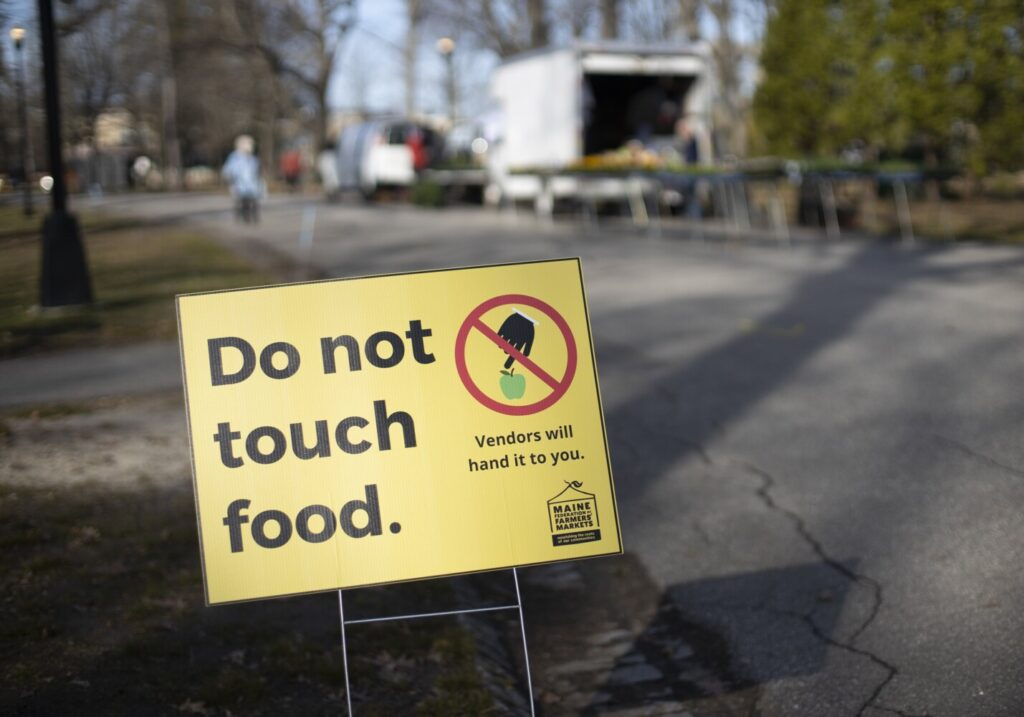 Wednesday's Portland Farmers Market was moved to Deering Oaks to allow for vendors and patrons to practice social distancing.