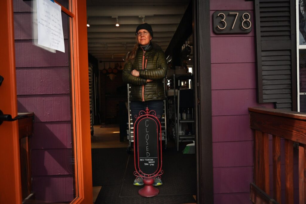 Krista Kern Desjarlais in the doorway of The Purple House last May.