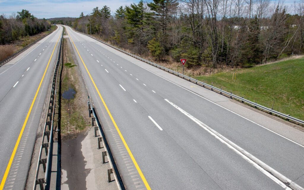 Traffic is down sharply on the Maine Turnpike, as evidenced by this photo shot on a Tuesday afternoon in May just south of the Auburn interchange. If even a fraction of Mainers currently working from home continue to do so, it would greatly reduce greenhouse gas emissions in the state.