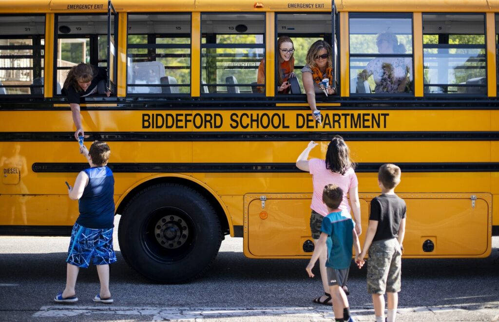 Biddeford School Buses Hit The Road To Bring Ice Cream To Students See The Photos Portland Press Herald