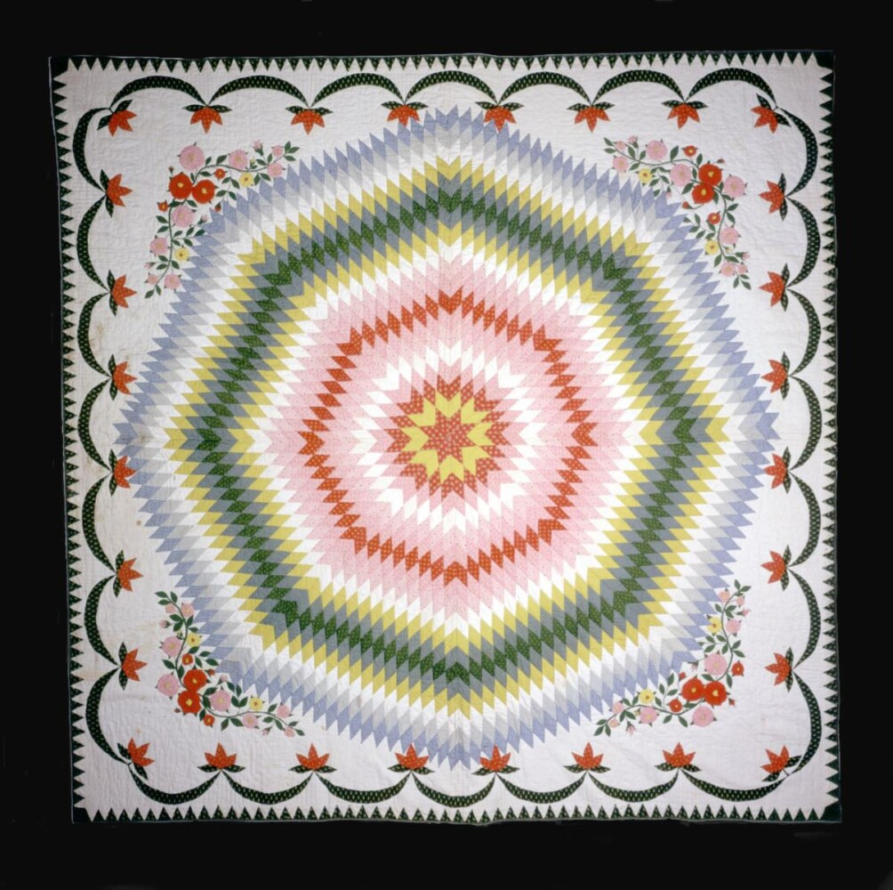 One of the quilts planned for the upcoming exhibition Maine Quilts: 250 Years of Comfort and Community is this pieced and appliqued quilt made circa 1872 by Eveline Greenwood Cushman of Lisbon, Maine.