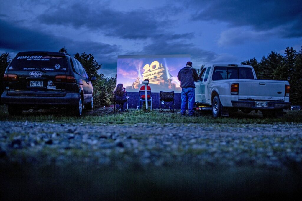 The Bridgton Twin Drive-In, seen in the days before social distancing, will open for the 2020 season on Friday.