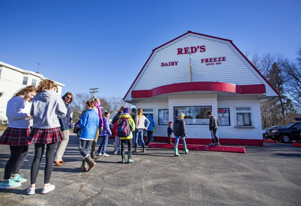 A long line forms at Red's Dairy Freeze in South Portland several years ago. It'll look a little different this year.
