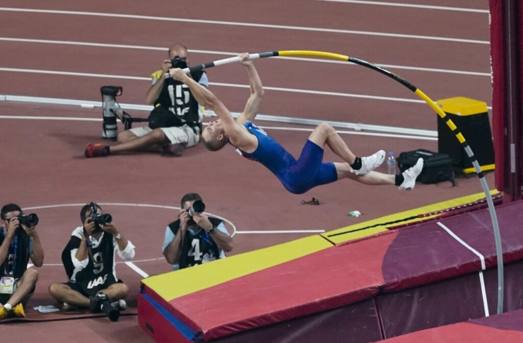 "Sam Kendricks is one of three pole vaulter who will compete in the ""Ultimate Garden Clash) on Sunday, a pole vaulting competition held in each competitors backyard."
