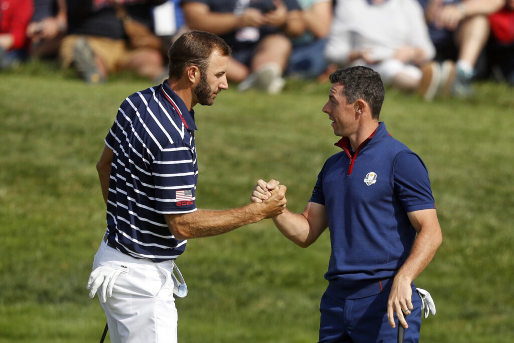 Dustin Johnson left, and Rory McIlroy will take part in a skins game to raise funds for COVID-19 relief on May 17, the first list golf on television since March.