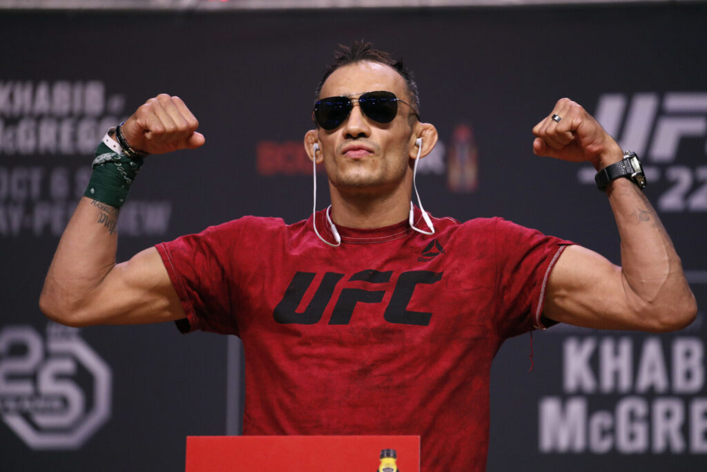 Tony Ferguson, shown here at a weigh-in in 2018, said he has no reservations about fighting at UFC 249 on Saturday night. The event is UFC's first since it was forced to shutdown after trying to continue during the coronavirus pandemic.