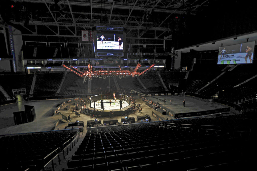 Fighters battle without spectators during UFC 249 on Saturday in Jacksonville, Florida.