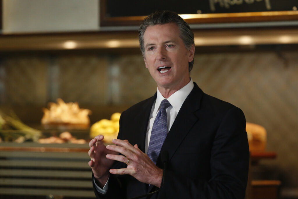 Gov. Gavin Newsom speaks during a news conference in Napa, Calif., on May 18.