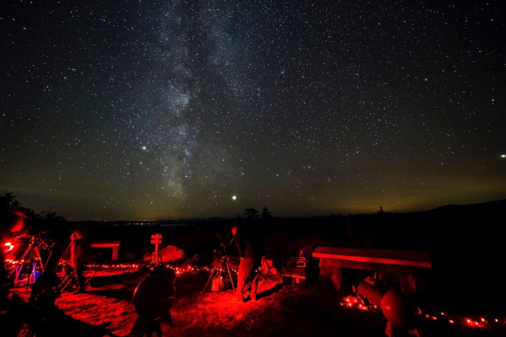 "The naturally dark night sky at Katahdin Woods and Waters National Monument has become a draw for visitors at the northern-Maine monument, as shown above at the annual ""Stars over Katahdin"" event."
