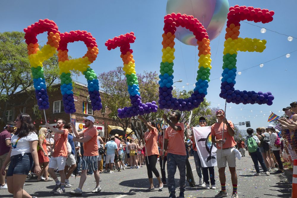 Participants in the 49th annual Los Angeles Pride Parade June 9, 2019, in West Hollywood, Calif. Organizers have canceled the 2020 edition of LA Pride, one of California's largest gay and lesbian rights festivals, amid the coronavirus pandemic. The 50th annual LA Pride Parade and Festival will be held digitally this year.