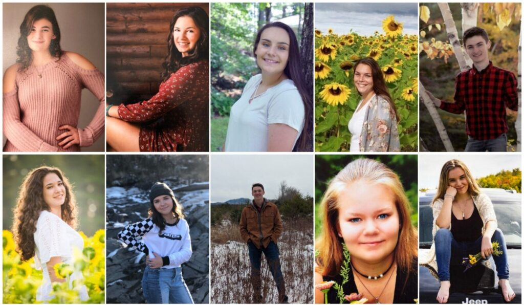 Carrabec High School in North Anson has announced its top 10 seniors for the class of 2020. Top from left are Cassidy Ayotte, Annika Carey, Ashley Cates, Caitlin Crawford and Shay Cyrway. Bottom from left are Olivia Fortier, Madison Jaros, Scott Mason, Mary-Jenna Oliver and Abby Richardson.