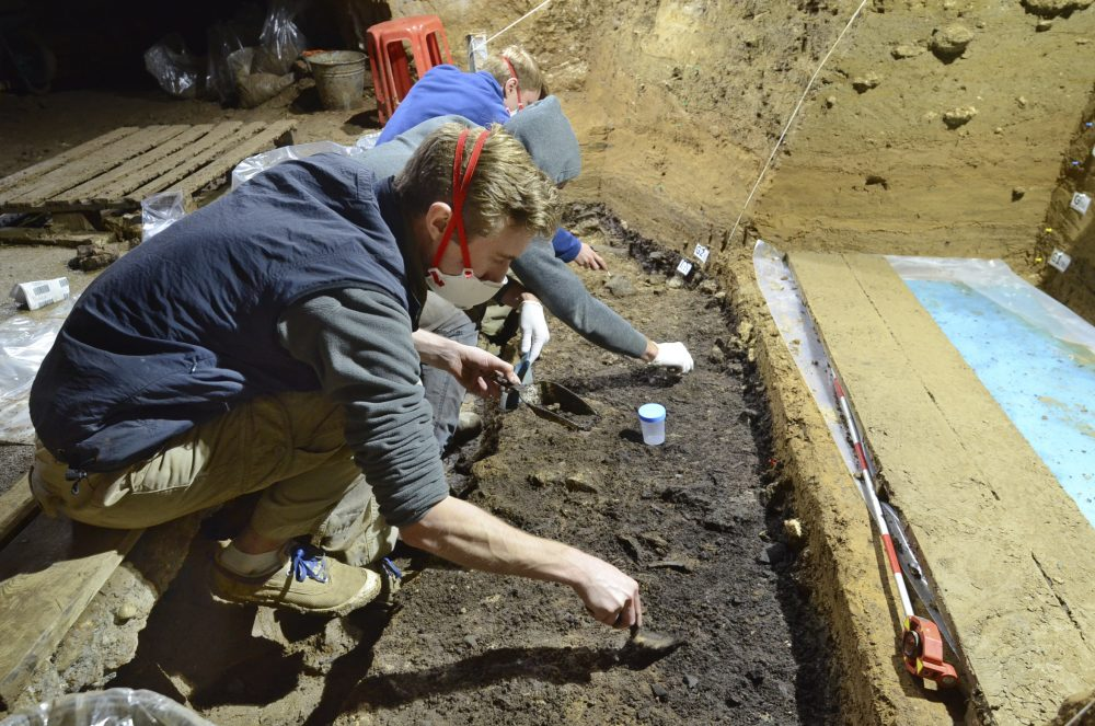 Excavation work at the Bacho Kiro Cave in Bulgaria. Two new studies Monday show that Homo sapiens bones found in the  cave date back to as far as 46,000 years ago, which is thousands of years earlier than previous human fossils in Europe.