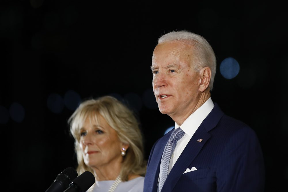 Democratic presidential candidate former Vice President Joe Biden, accompanied by his wife Jill, earlier this year. Biden has no foreseeable plans to resume in-person campaigning amid a pandemic that is testing whether a national presidential election can be won by a candidate communicating almost entirely from home.