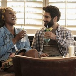 "Issa Rae as Leilani, Kumail Nanjiana as Jibran of ""The Lovebirds."""