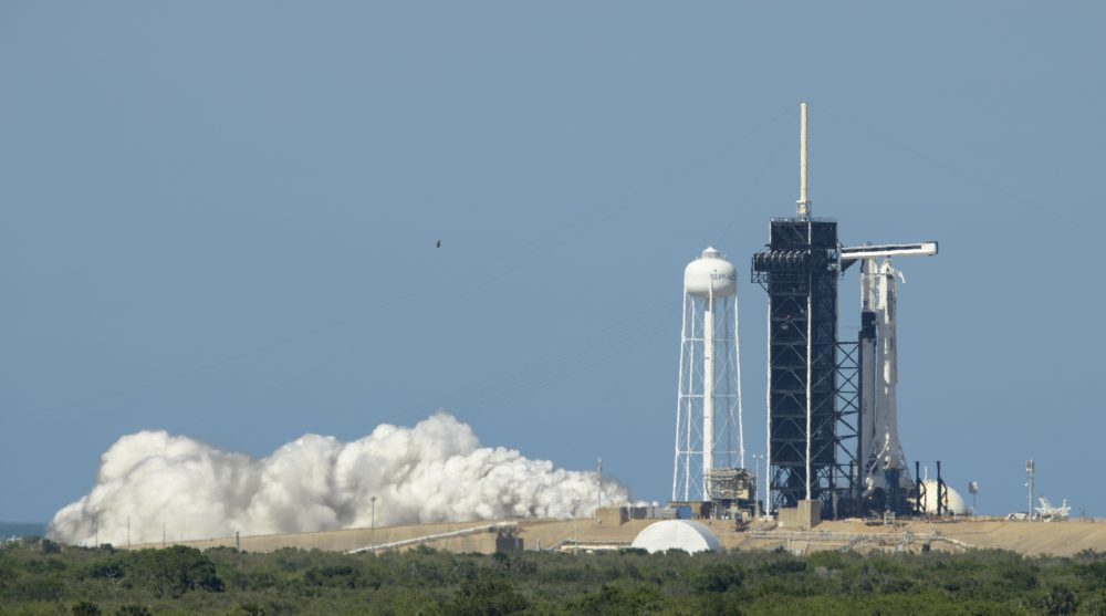 A SpaceX Falcon 9 rocket with the company's Crew Dragon spacecraft onboard is  on the launch pad May 22 at NASA's Kennedy Space Center in Florida.