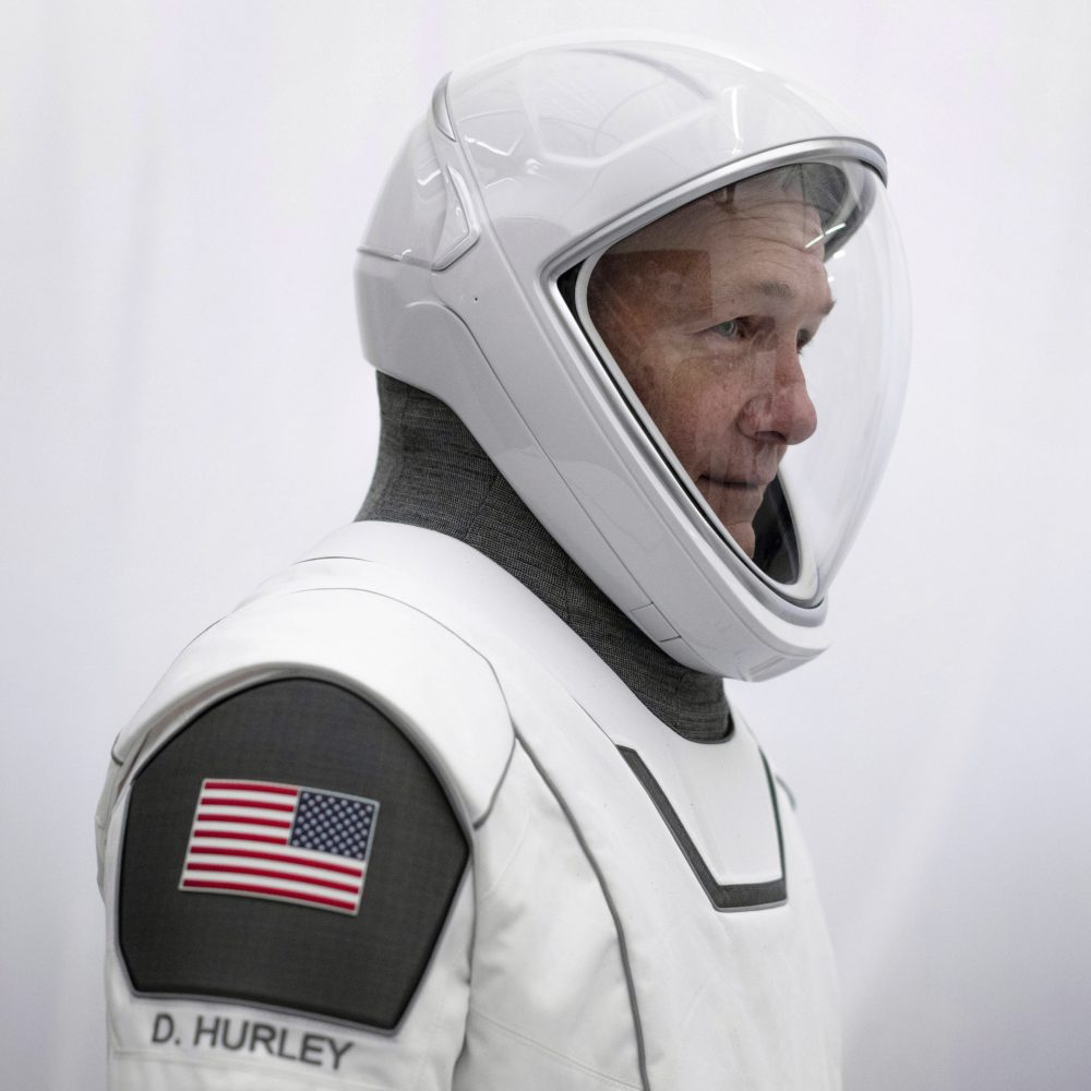 NASA astronaut Doug Hurley in his spacesuit at SpaceX headquarters in Hawthorne, Calif. On Wednesday, Hurley and Bob Behnken are scheduled to pilot a SpaceX Dragon capsule to the International Space Station.