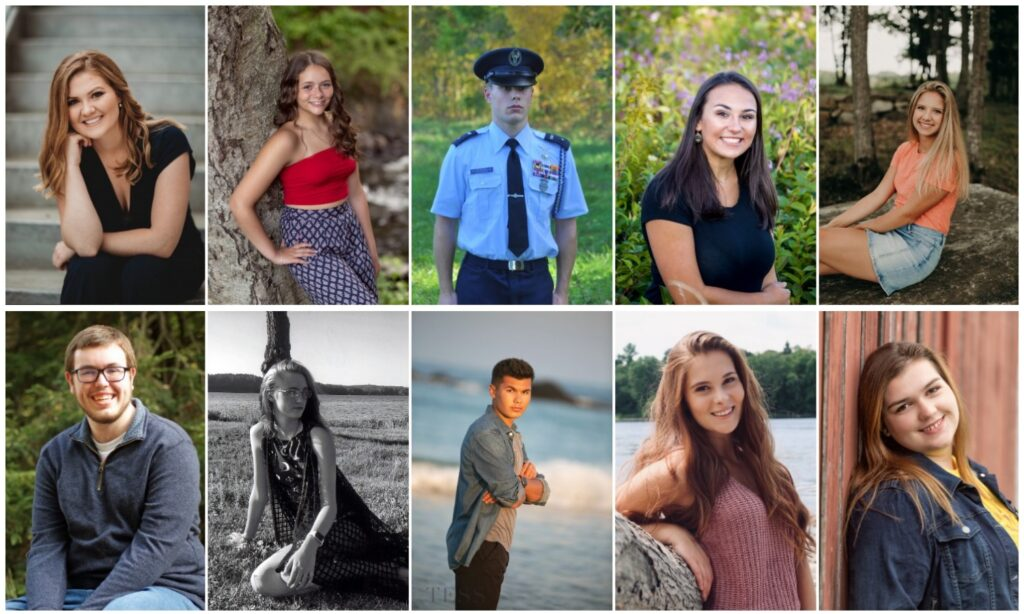 Lawrence High School in Fairfield top 10 scholars for the class of 2020. Top from left are Lydia Townsend, Haley Hersey, Paul Southwick, Miranda Lambert and Savannah Weston. Bottom from left are Samuel Coro, Cassondra Wood, Jacob Patterson, Abigail Fisher and Abigail Towne.