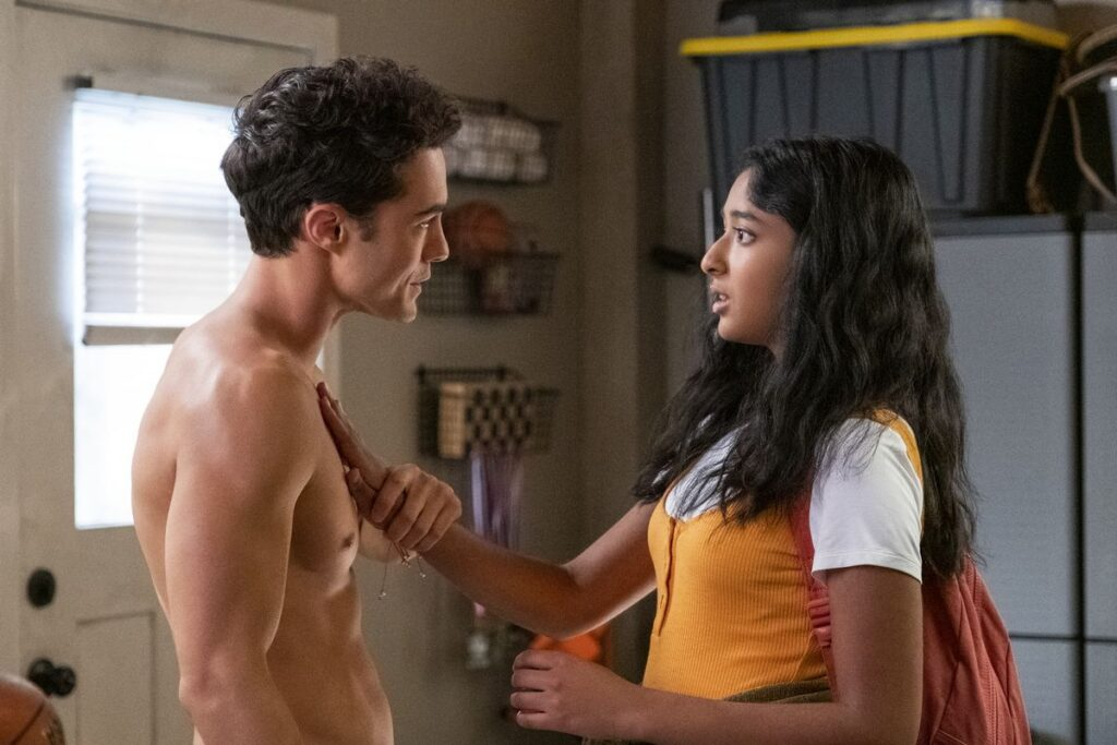 "Paxton (Darren Barnet) and Devi (Maitreyi Ramakrishnan) share a moment on Netflix's ""Never Have I Ever."""