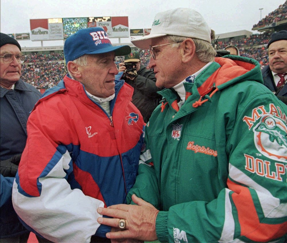 """Former Bills coach Marv Levy, left, said of former Dolphins coach Don Shula, """"He's one of the great credits to the game that has ever been."""