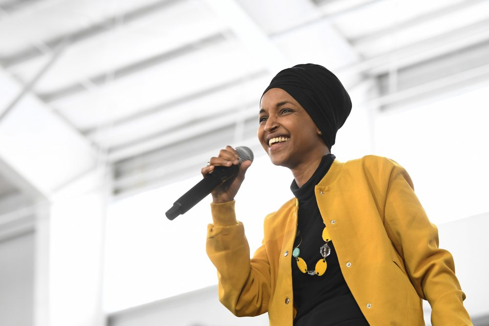 Rep. Ilhan Omar, D-Minn., speaks at a Feb. 20 rally in Springfield, Mass. In her new memoir being released Tuesday, she provides details about her life, as she went from a refugee and immigrant to a congresswoman.