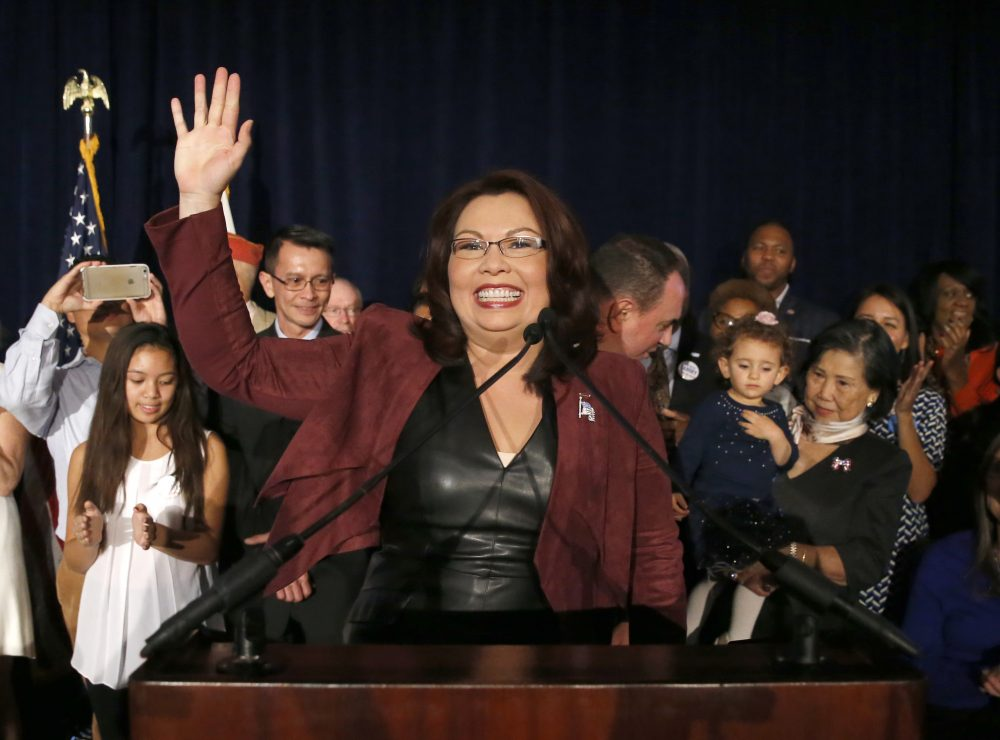 Sen.-elect Tammy Duckworth, D-Ill., celebrates her win during her election night party Nov. 8, 2016, in Chicago.