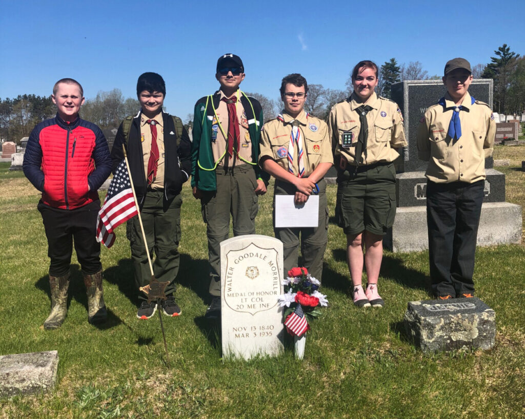 Troop 428 of Pittsfield members who set out flags on veterans' graves in Pittsfield from left were Dillon Whitney, Jeremiah Wiswall, Noah Wiswall, Michael Connolly, Erica Peloquin and Carl Tilton.