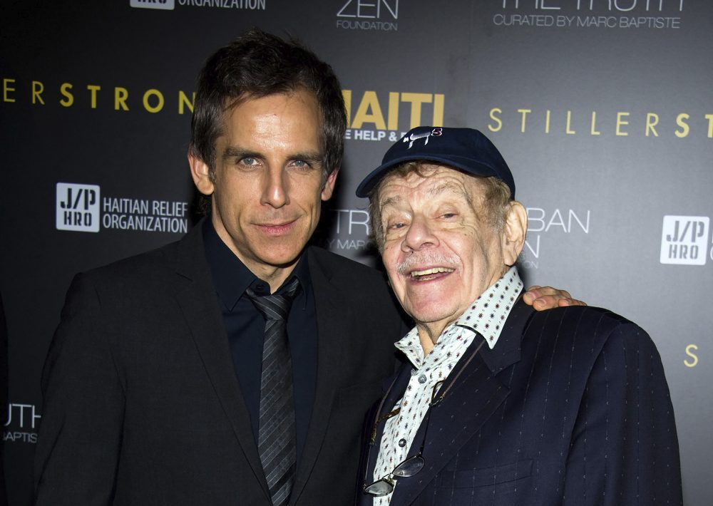 Ben Stiller, left, and his father Jerry Stiller arrive at the Help Haiti benefit honoring Sean Penn hosted by the Stiller Foundation and The J/P Haitian Relief Organization in February 2011 in New York.