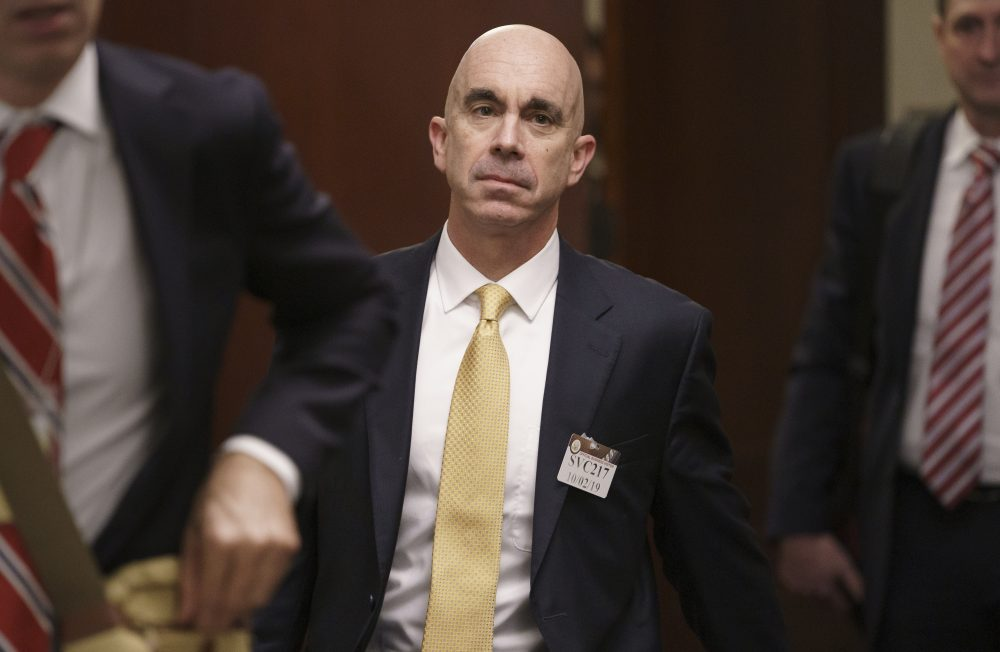 State Department Inspector General Steve Linick leaves a meeting in a secure area Oct. 2 at the Capitol in Washington.