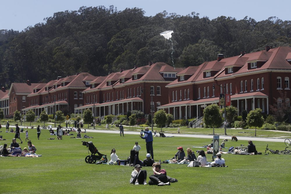 People sit and fly kites on grass in The Presidio, part of the Golden Gate National Recreation Area in San Francisco on Sunday.