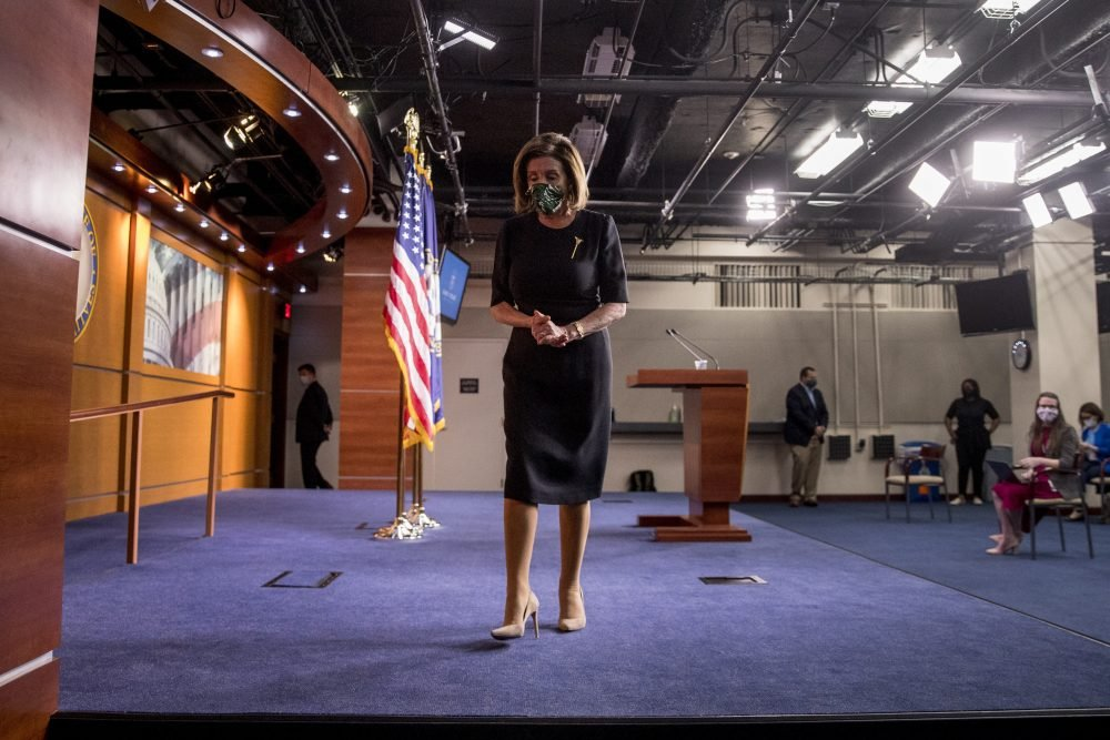 House Speaker Nancy Pelosi steps away from the podium at the conclusion of a news conference Thursday on Capitol Hill.