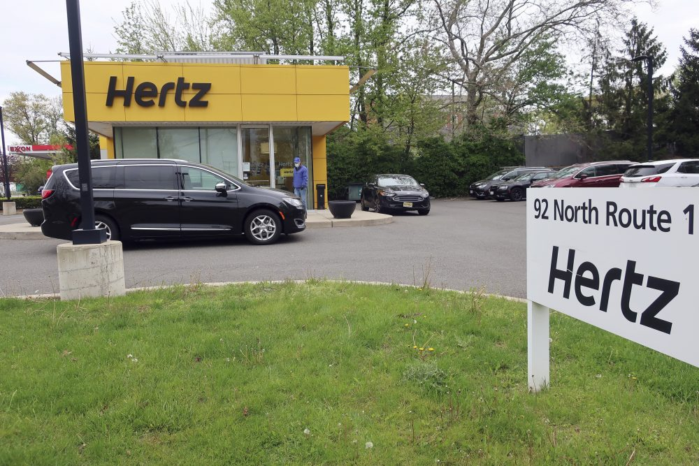 A Hertz car rental office is closed May 6 in Paramus, N.J. Hertz filed for bankruptcy protection Friday, unable to withstand the pandemic that has crippled global travel.