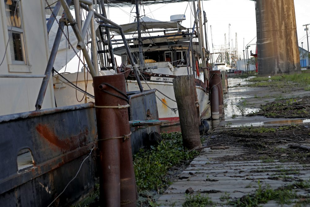 Fishing vessels are seen docked in Morgan City, La. Attempts to curb the spread of COVID-19 have thrown a kind of triple economic whammy on the state. As oil prices have plummeted, the industry laid off workers.