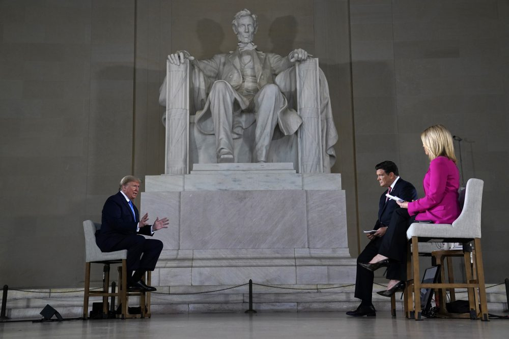 President Trump speaks during a Fox News virtual town hall from the Lincoln Memorial on Sunday in Washington, co-moderated by FOX News anchors Bret Baier and Martha MacCallum.