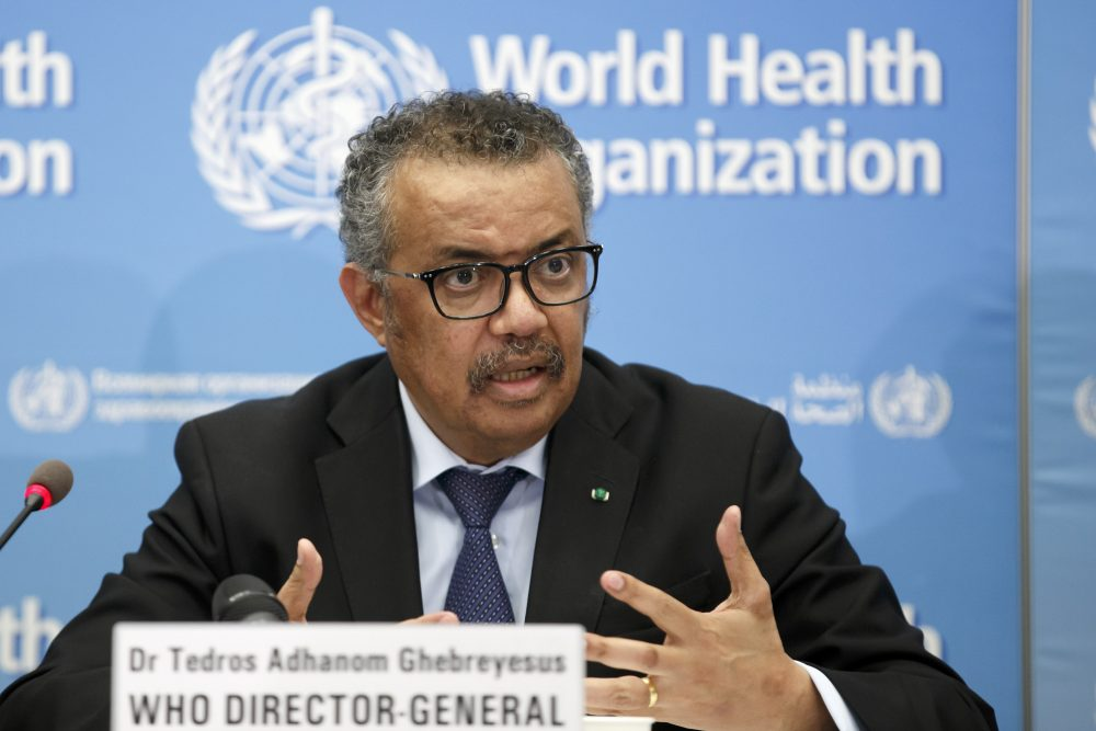 Tedros Adhanom Ghebreyesus, director general of the WHO, addresses a press conference about COVID-19 on Feb. 24. Member nations are calling for an independent evaluation of the agency's response to the  pandemic.