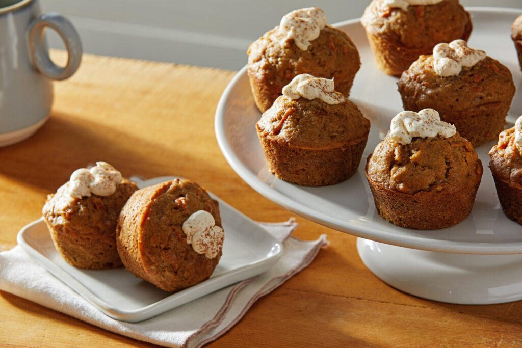 Carrot Cake Muffins with Maple Cream Cheese Frosting