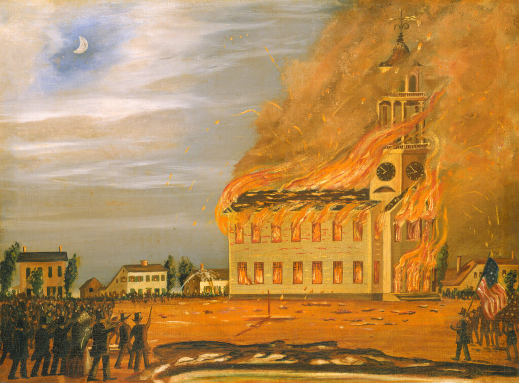 Burning of Old South Church, Bath, c. 1854 by John Hilling