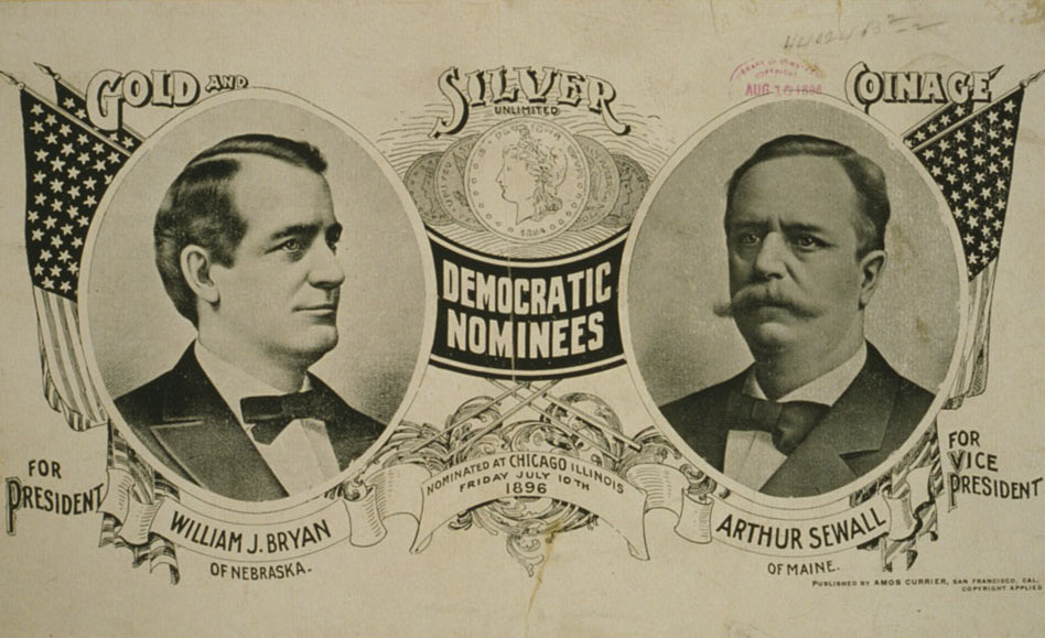 Democratic nominees for president William Jennings Bryan of Nebraska and Arthur Sewall of Maine for vice president. They were nominated in Chicago in July 1896.