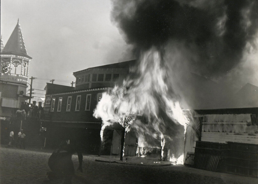 Only 15 minutes after the fire began flames flare up from the beach exit to the White Way of the Old Orchard Beach pier. The Merry-Go-Round was famous for its hand-carved horses which were crafted in England in the late 1800s and imported to this country.