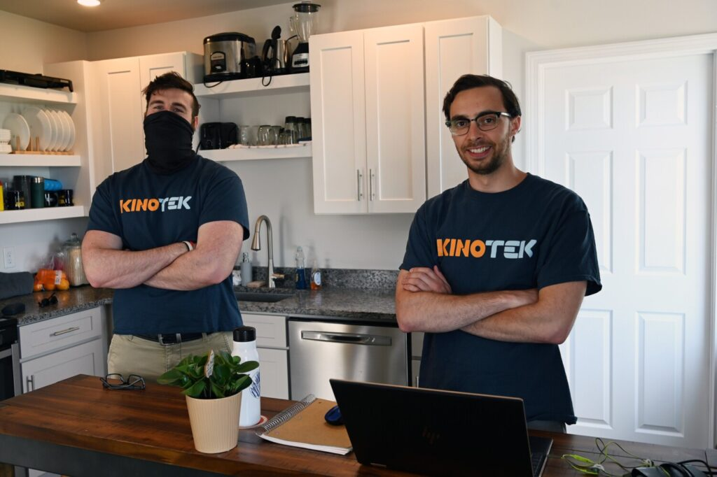 KinoTek founders David Holomakoff, left, and Justin Hafner at Hafner's Portland apartment in June. The software startup had a virtual reality and kinesiology focus, but it shifted from sports to digital health when the pandemic changed potential clients' interests.