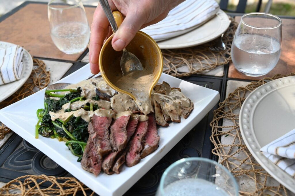 Peppered Mushrooms, Steak and Spinach with Brandy Cream Sauce. Things just taste better when we eat together sitting at the table.