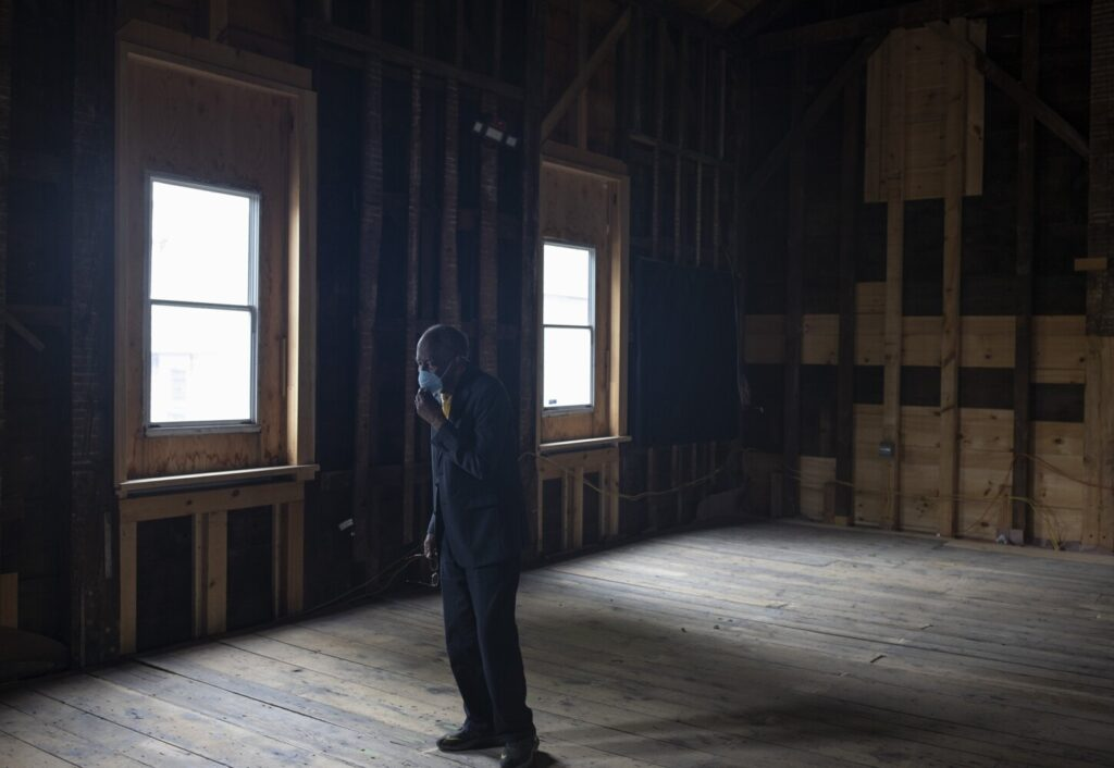 PORTLAND, ME - JUNE 11: Leonard Cummings, 85, a founder of the Committee to Restore the Abyssinian, adjusts his mask inside of the Abyssinian Meeting House in Portland on Thursday, June 11, 2020. (Staff photo by Brianna Soukup/Staff Photographer)